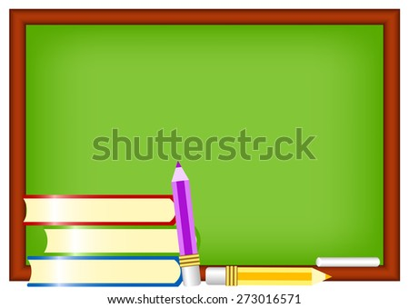 Postcard for Teacher's Day. Greenboard with books and pencils. Raster illustration