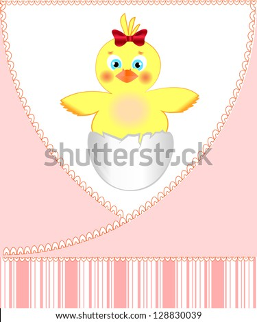 Postcard from chickens for the newborn girl, illustration format.