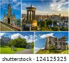 Postcard from sunny Edinburgh in summer - stock photo