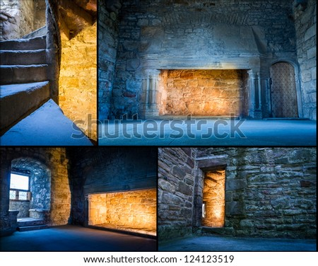 Postcard from warm and cold light in medieval castle - stock photo