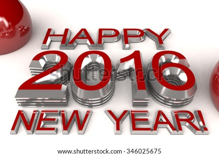 postcard - Happy New Year 2016 with red text - stock photo