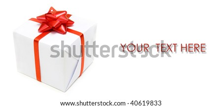 postcard of auguries with package gift - stock photo