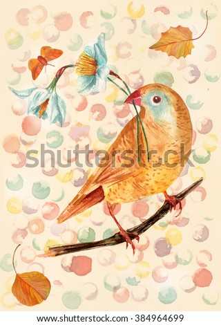 Postcard or cover design with a golden bird seated on a branch, holding white daffodils in its beak, with a little butterfly and two autumn leaves flying around, on a retro style abstract background - stock photo