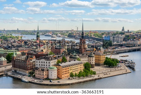 Postcard panoramic view on old part of Stockholm (Gamla Stan) with old historical buildings on the bank of canal, Stockholm, Sweden