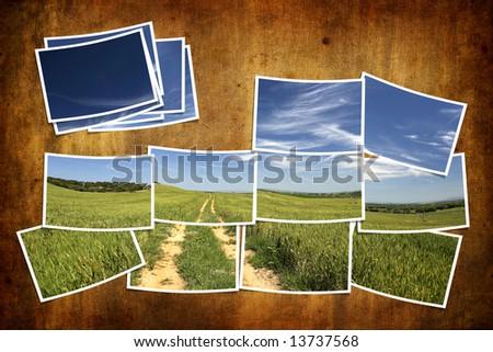 postcard tile with summer landscape over grunge background - stock photo