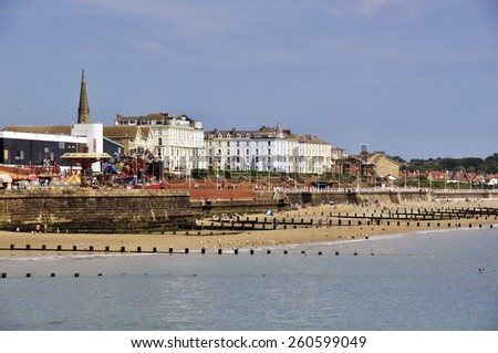 Postcard view of Bridlington seaside resort, North Yorkshire. - stock photo