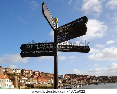 Postcard view of Whitby, North Yorkshire, UK. - stock photo