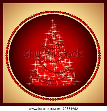 postcard with christmas tree on merry christmas day