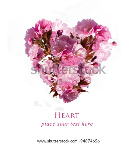postcard with floral heart - stock photo