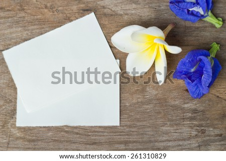 Postcard with fresh flowers.