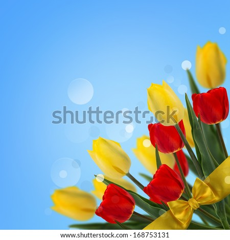 Postcard with fresh flowers tulips and place for your text. Abstract background for design. Spring background. Floral background.