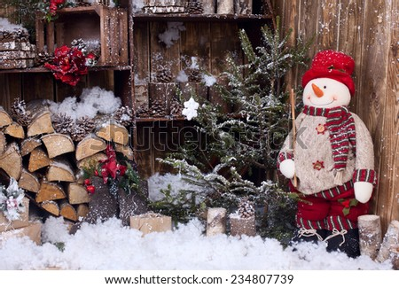 postcard with Snowman and fairy tale - stock photo