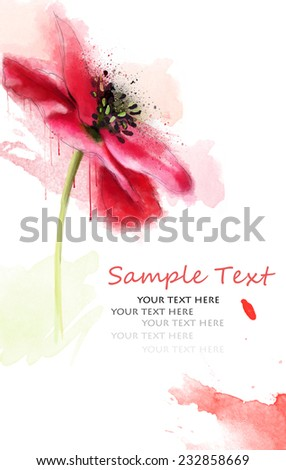 postcard with watercolor poppy and text - stock photo