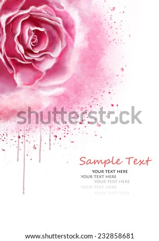 postcard with watercolor roses and text - stock photo