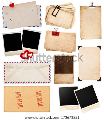 postcards and photo frames isolated on white background. vintage paper sheets with clip. old photo cards. air mail envelope. retro design - stock photo
