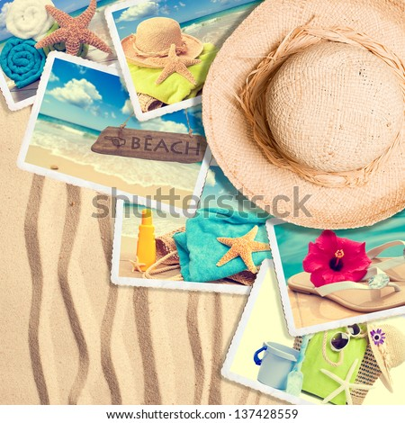 Postcards in the sand with summer straw hat - stock photo
