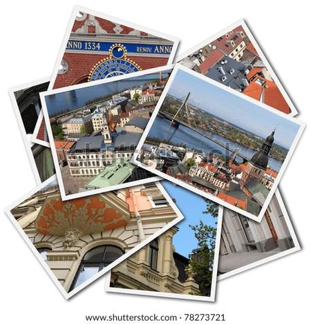 Postcards of Riga, Latvia, isolated on the white background - stock photo