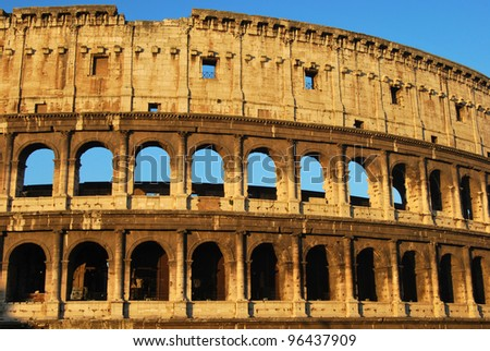 Postcards of Rome - Colosseum - Italy 010 - A striking image of the Colosseum of Rome at dawn - stock photo