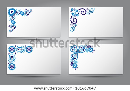 Postcards of traditional folk patterns (Vector version is also available in my portfolio, ID 126267293) - stock photo