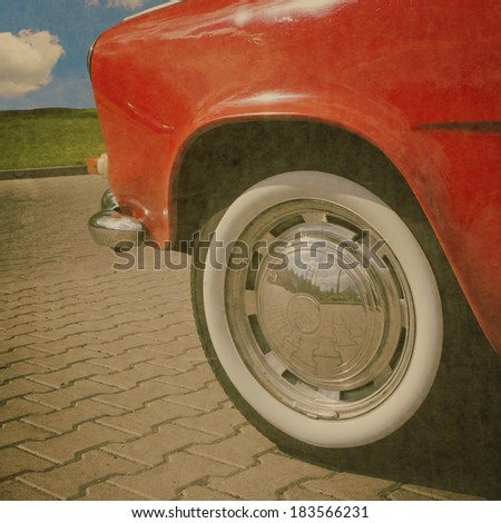 Poster. A part of old car on old style. - stock photo