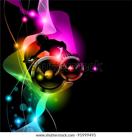 Poster Background for music international disco event with rainbow colours, abstract design elements and a lot of stars! - stock photo