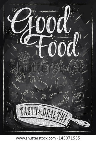 Poster good food with frying pan in which the products fly stylized drawing with chalk on blackboard. Raster version, vector file also available - stock photo