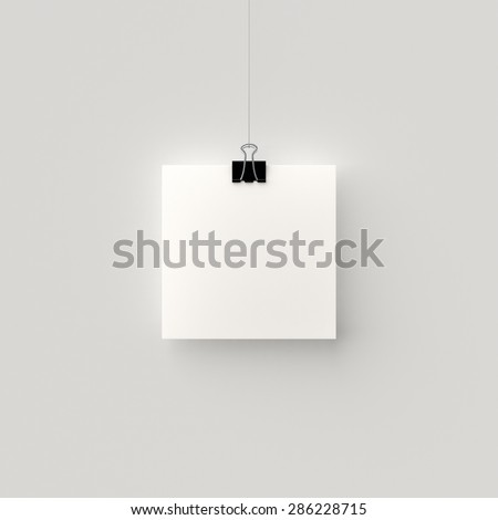 Poster hanging on a thread with a black clip. Blank square sheet of paper against a concrete wall mock up. Urban minimalistic style portfolio presentation concept.