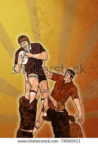 poster illustration of a rugby player jumping catching ball in lineout in grunge texture background - stock photo