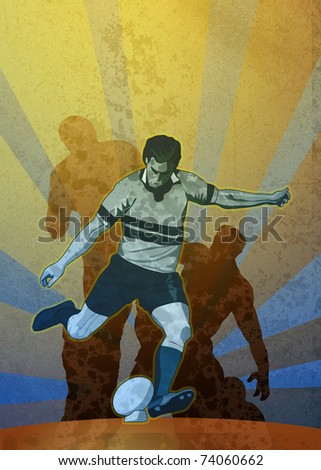 poster illustration of a rugby player kicking the ball with sunburst in background with grunge texture - stock photo