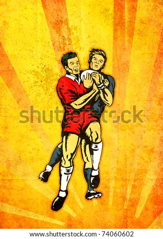 poster illustration of rugby players jumping catching ball with sunburst and grunge texture background - stock photo