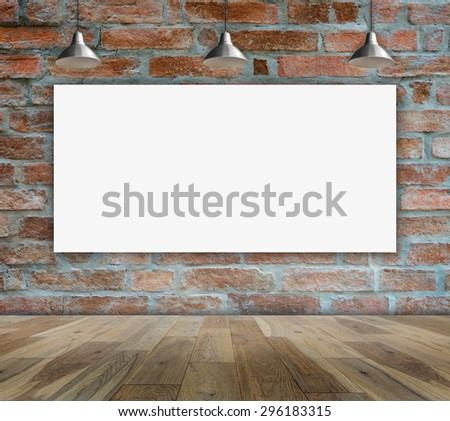 Poster in Brick wall with Ceiling lamp for information message - stock photo