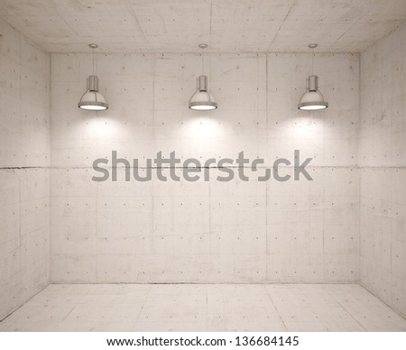 Poster in room with lamps - stock photo