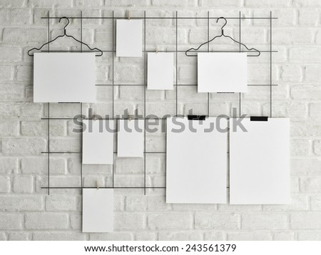 Poster mock up on brick wall background, 3d illustration - stock photo