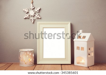 Poster mock up template for Christmas holiday with candles - stock photo