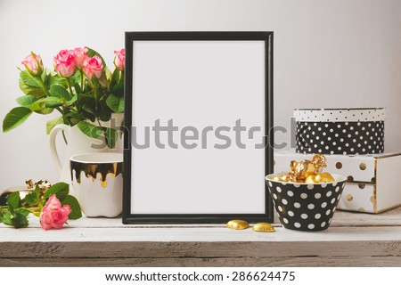 Poster mock up with glamour and elegant objects - stock photo