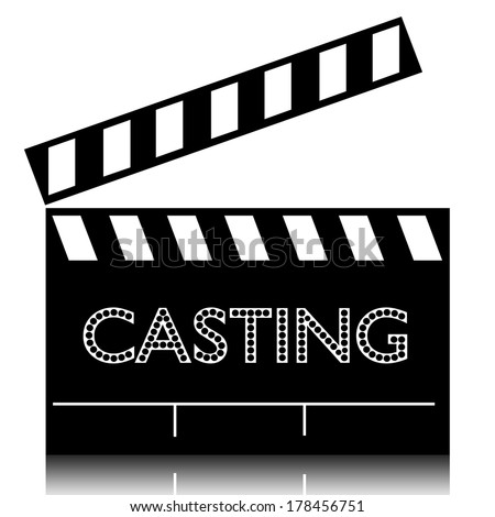 Poster of casting film on clapperboard. - stock photo