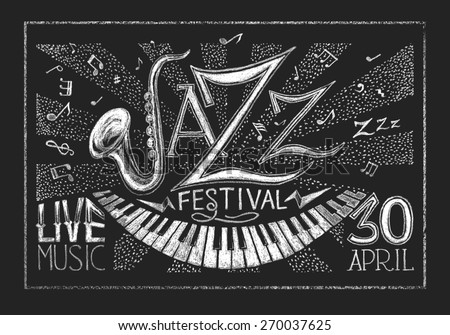 Poster of Jazz festival on blackboard - stock photo