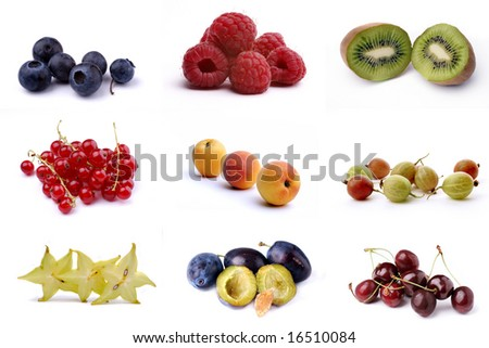 Poster of nine different fruits isolated on white - stock photo