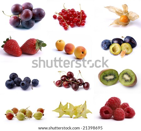 Poster of twelve different fruits isolated on white - stock photo