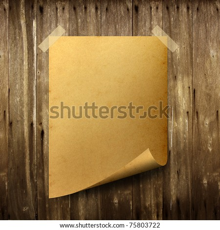 Poster old paper. Stick tape on old wood background. - stock photo