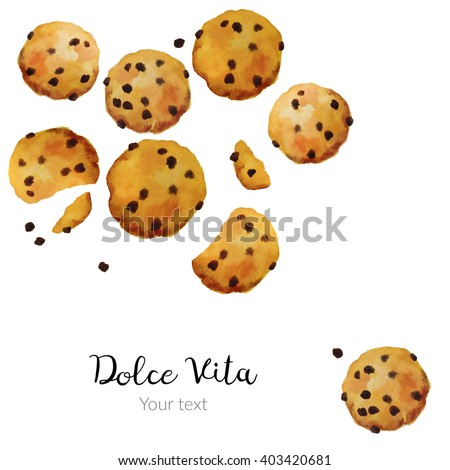 Poster on white background isolated homemade cookies with chocolate watercolor hand drawn - stock photo