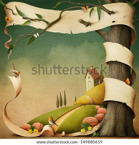 Poster or illustration with banner and autumn landscape with  house.  - stock photo