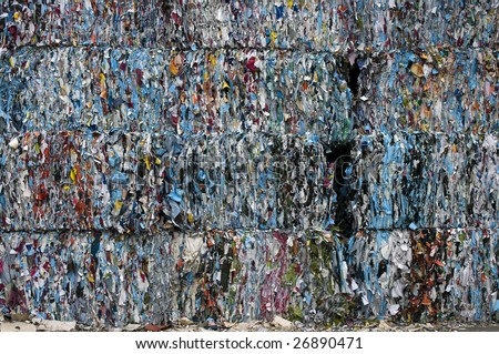 Poster paper bales for recycling - stock photo