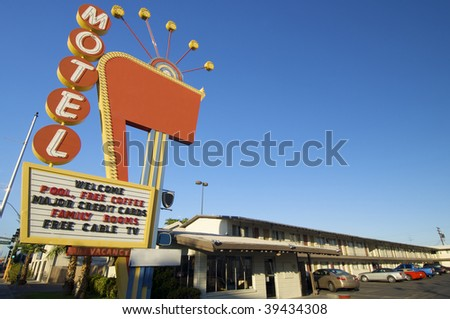 poster red motel in Las Vegas, Usa - stock photo