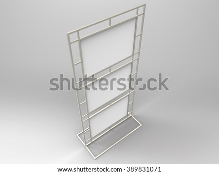 Poster Stand Display 3D Render is a professional realistic 3D Render metal stand display customized for A size posters or flyers, used for marketing campaigns, product placement. - stock photo