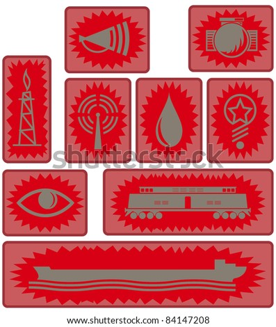 poster style industrial age icons and symbols in red. raster version