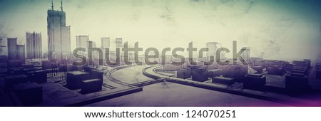 Poster urban sketch in pale rainbow colors - stock photo