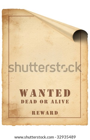 Poster wanted, brown background,stained. you can add photo and reward money on it - stock photo