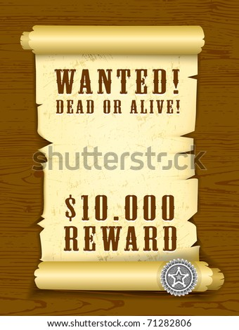 Poster Wanted dead or alive on wood texture background. - stock photo