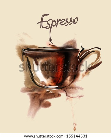 Poster with a coffee cup. Watercolor  - stock photo